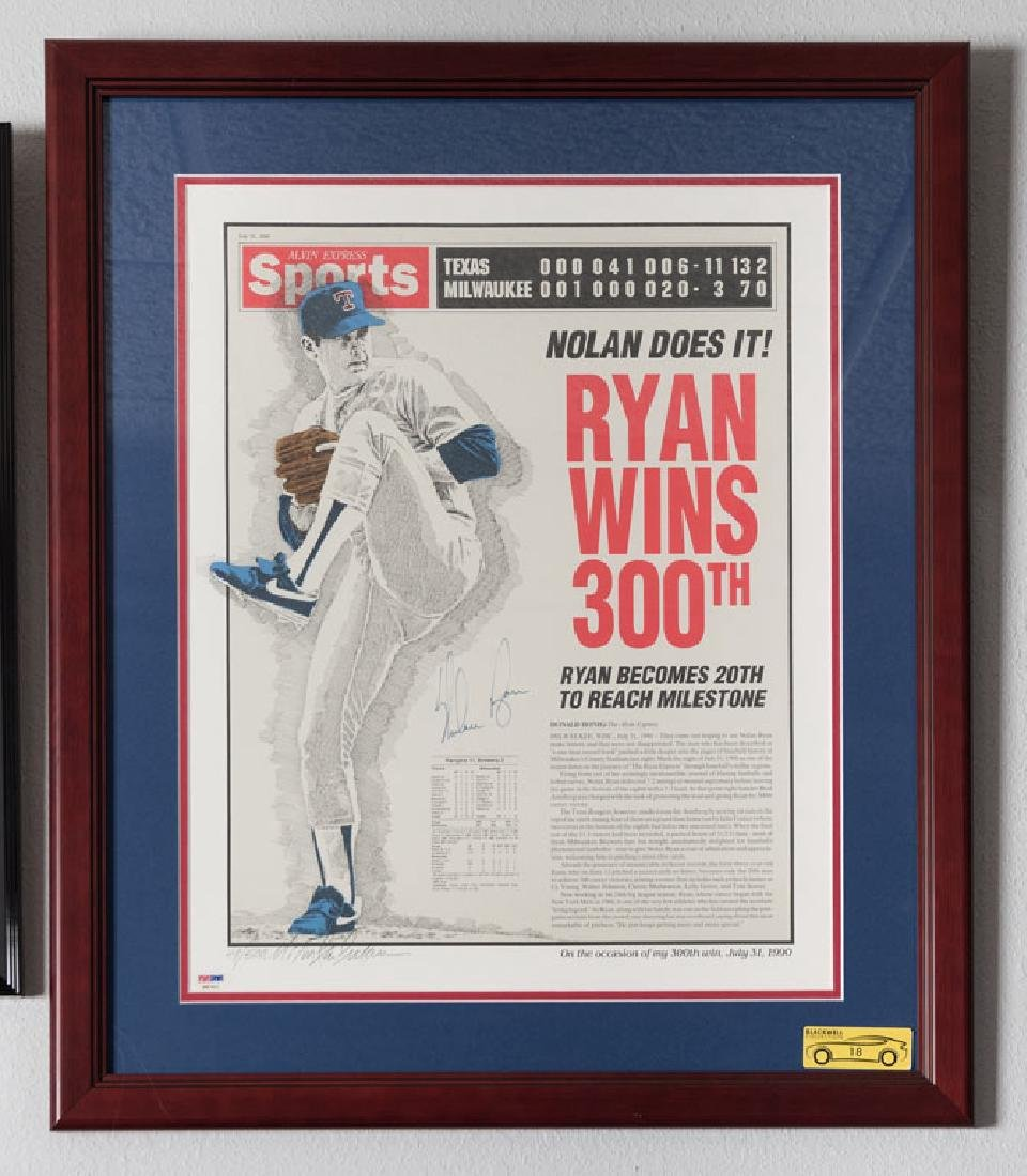 Nolan Ryan 300th Win Signed Newspaper