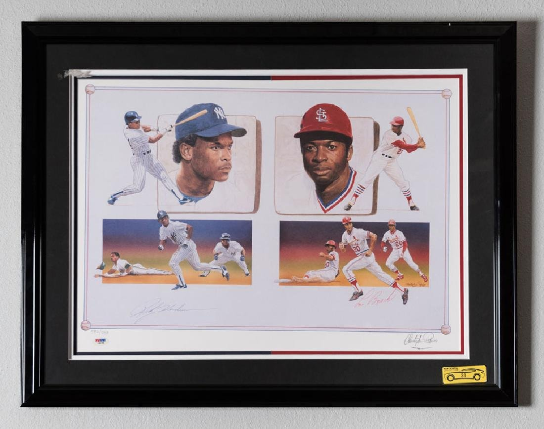 Lou Brock and Rickey Henderson Signed Illustration
