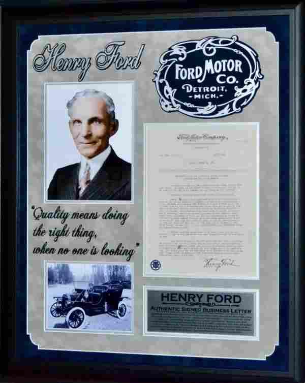 Henry Ford Letter on Ford Letterhead