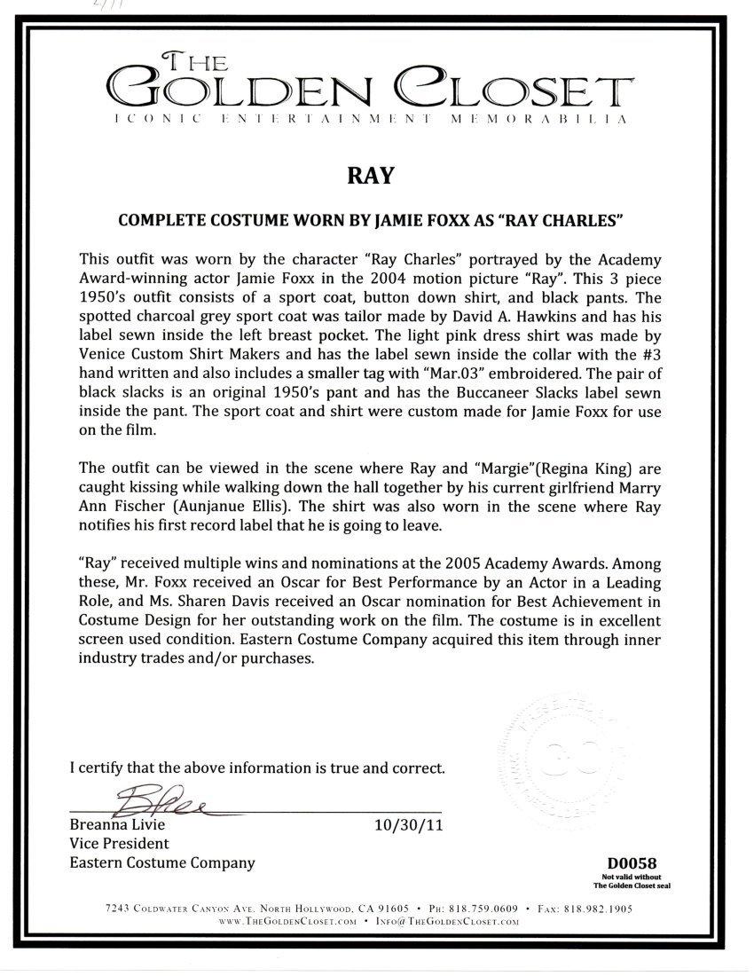 "Jamie Foxx ""RAY"" costume - 3"