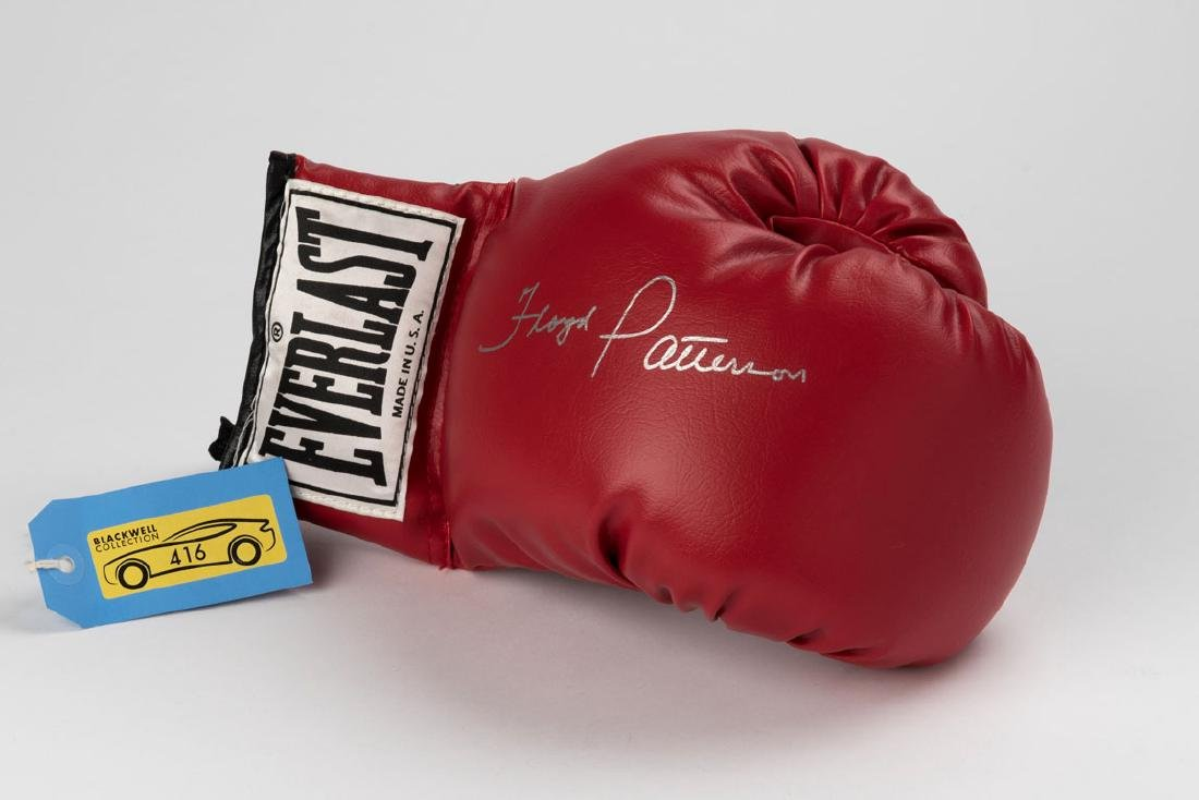 Floyd Patterson signed boxing glove with signed photo