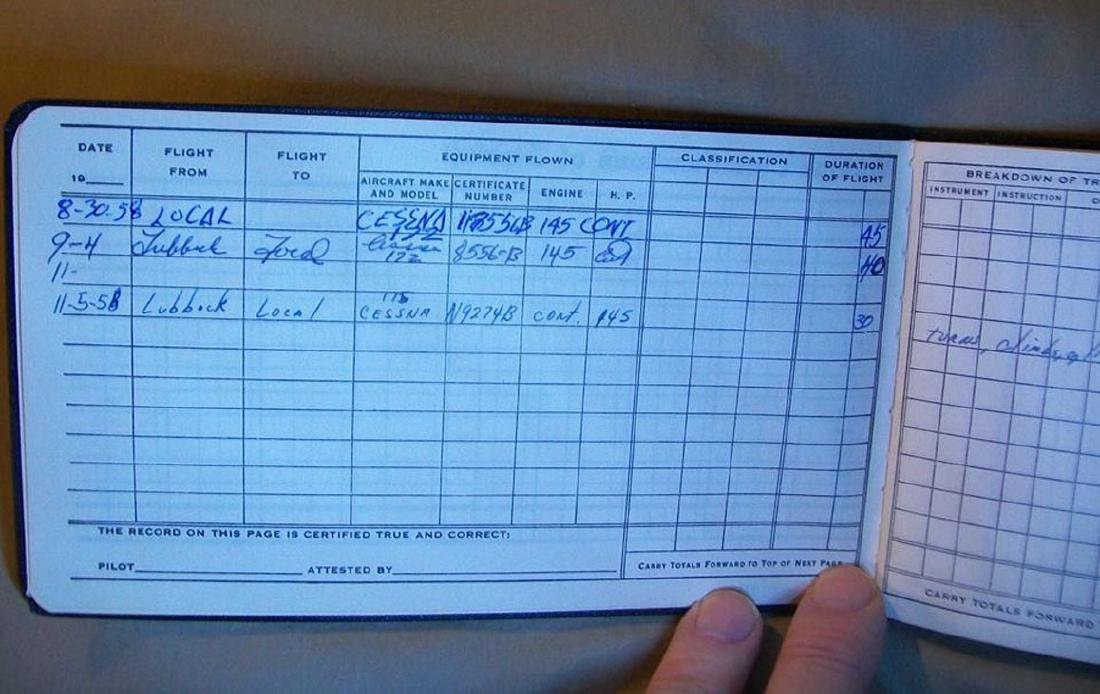 Buddy Holly Cessna 172 Plane and Sgd Flight Log Book - 11