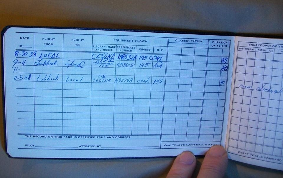 Buddy Holly Cessna 172 Plane and Sgd Flight Log Book - 7