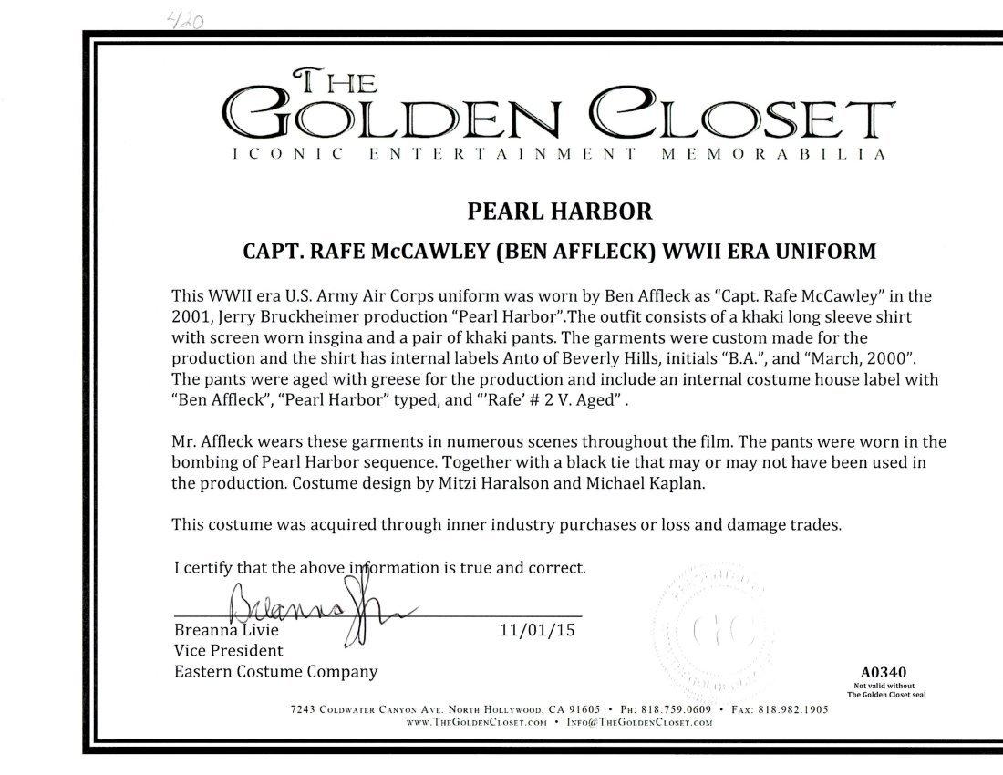 "Ben Affleck ""Pearl Harbor"" costume - 2"