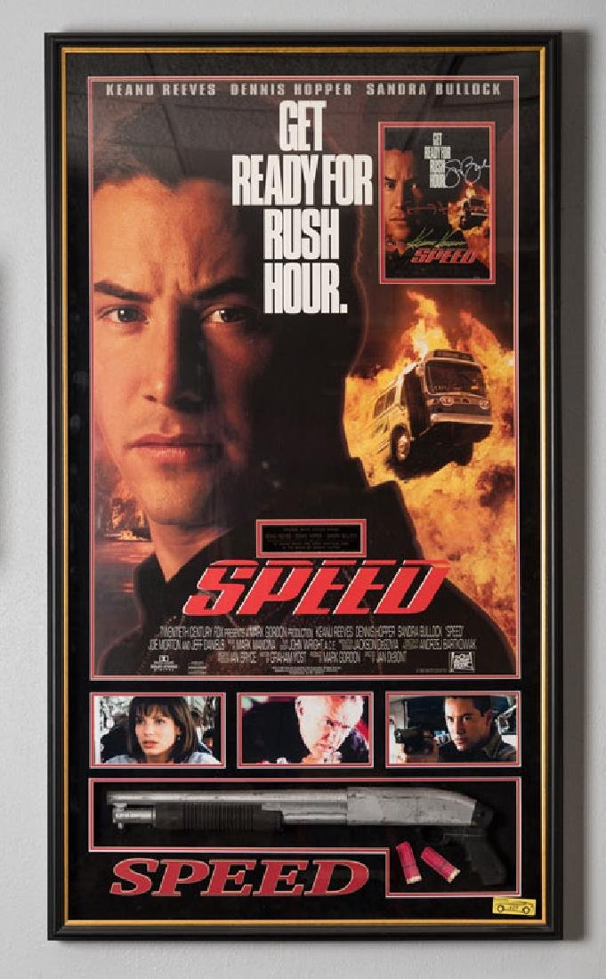 Signed Speed Movie Poster and Prop Gun