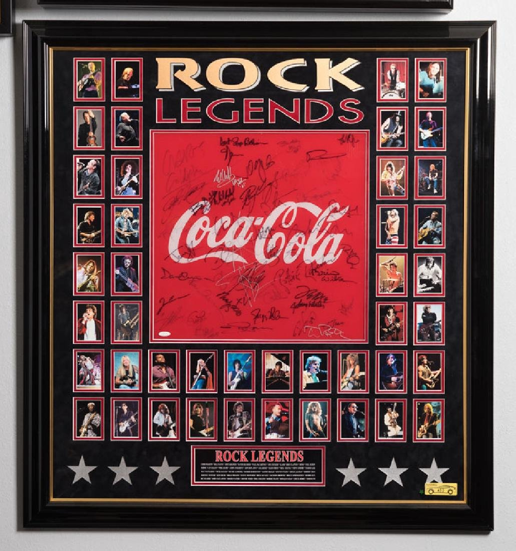 Coca-Cola Poster Signed by Rock Legends