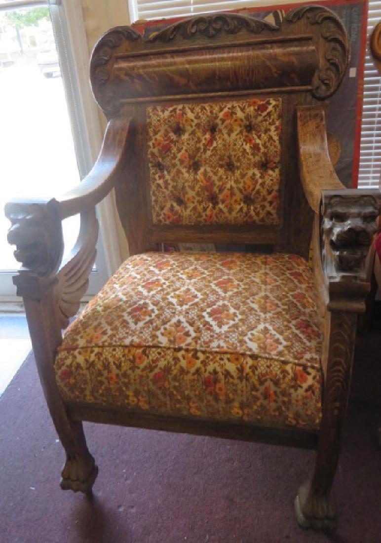Victorian Oak Chair. Lions Head Arms