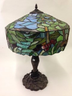 Art Nouveau Style Leaded Lamp