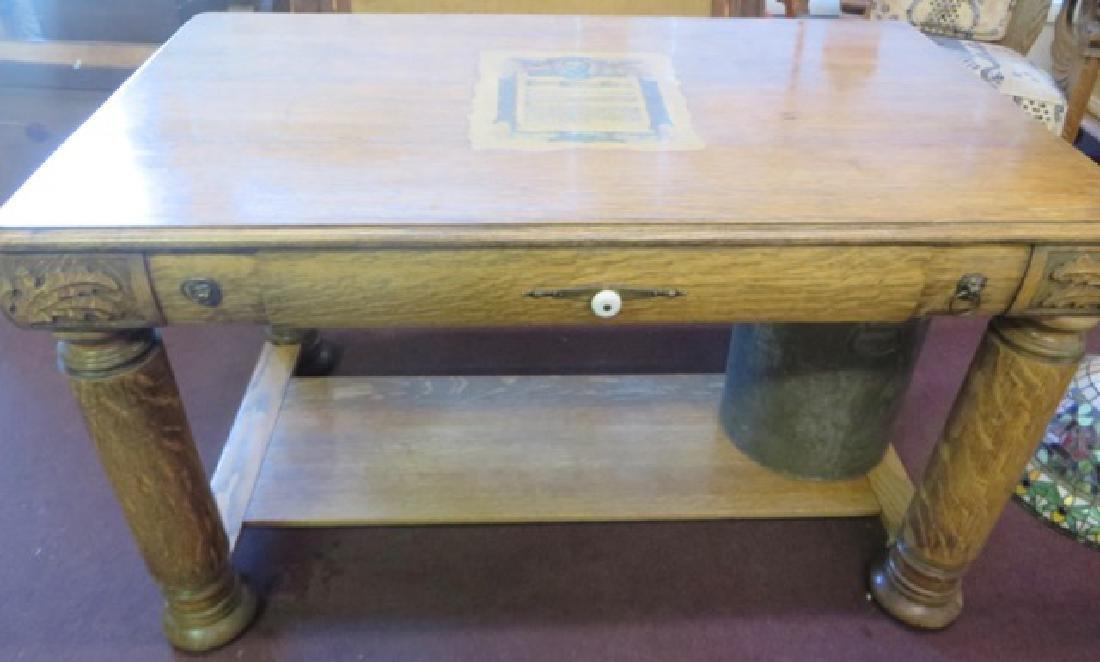 Victorian Oak Desk.