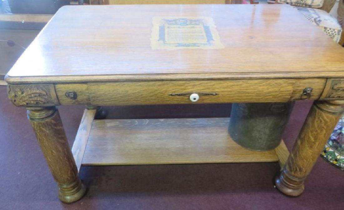 Victorian Oak Desk. - 2
