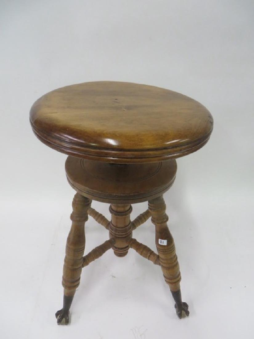 Antique Maple Piano Stool - 3