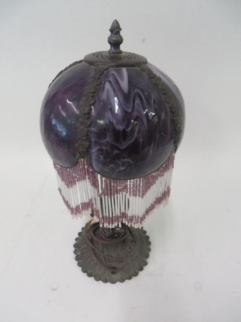 Art Nouveau Table Lamp. Glass Shade. - 2