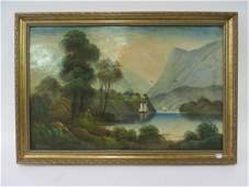 H Gordon Oil Hudson River Scene Sgd