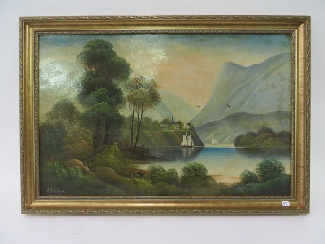 H. Gordon. Oil. Hudson River Scene. Sgd.