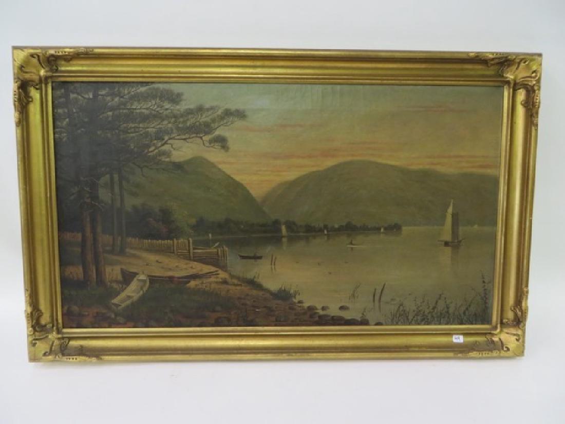 T. B. Pope. Oil. Hudson Highlands. Signed