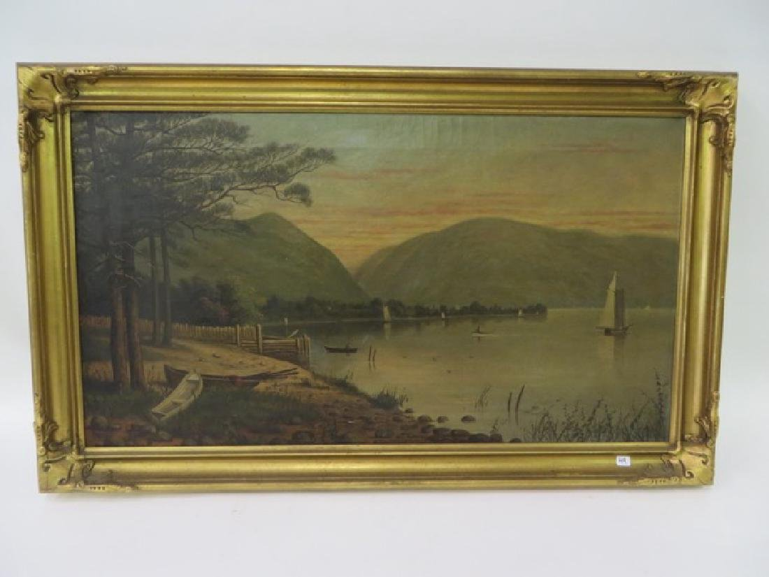 T. B. Pope. Oil. Hudson Highlands. Signed