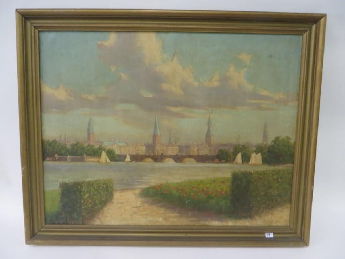 K. Meyer Nietta. Oil. European Scene. Sgd