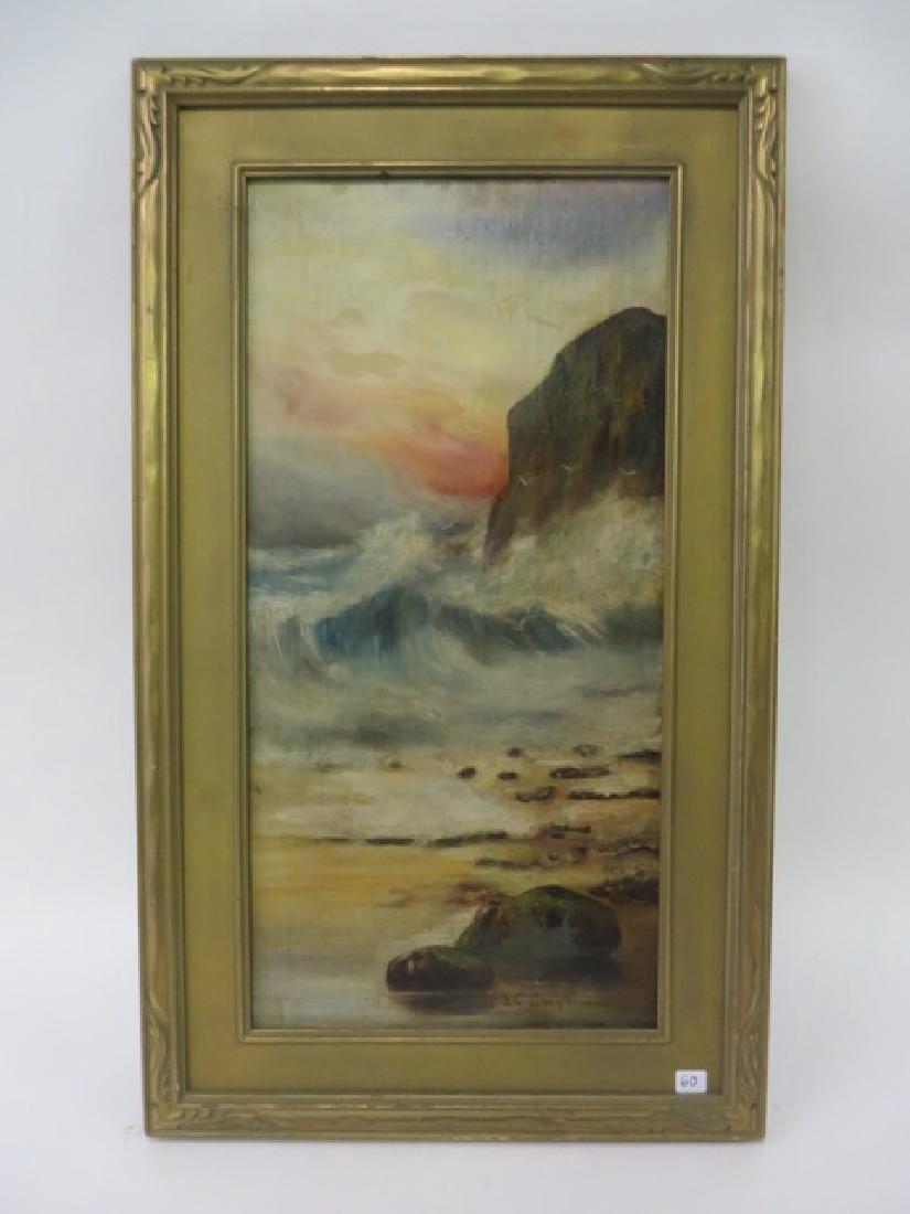 E. C. Smythe. Oil. Surf Crashing. Sgd.
