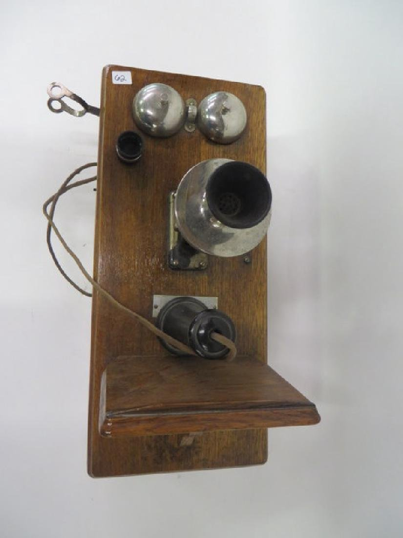 Antique Wall Telephone. Oak Cased