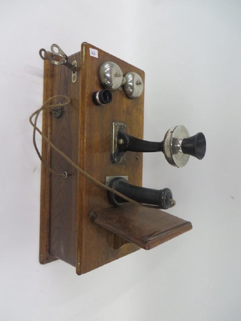 Antique Wall Telephone. Oak Cased - 2
