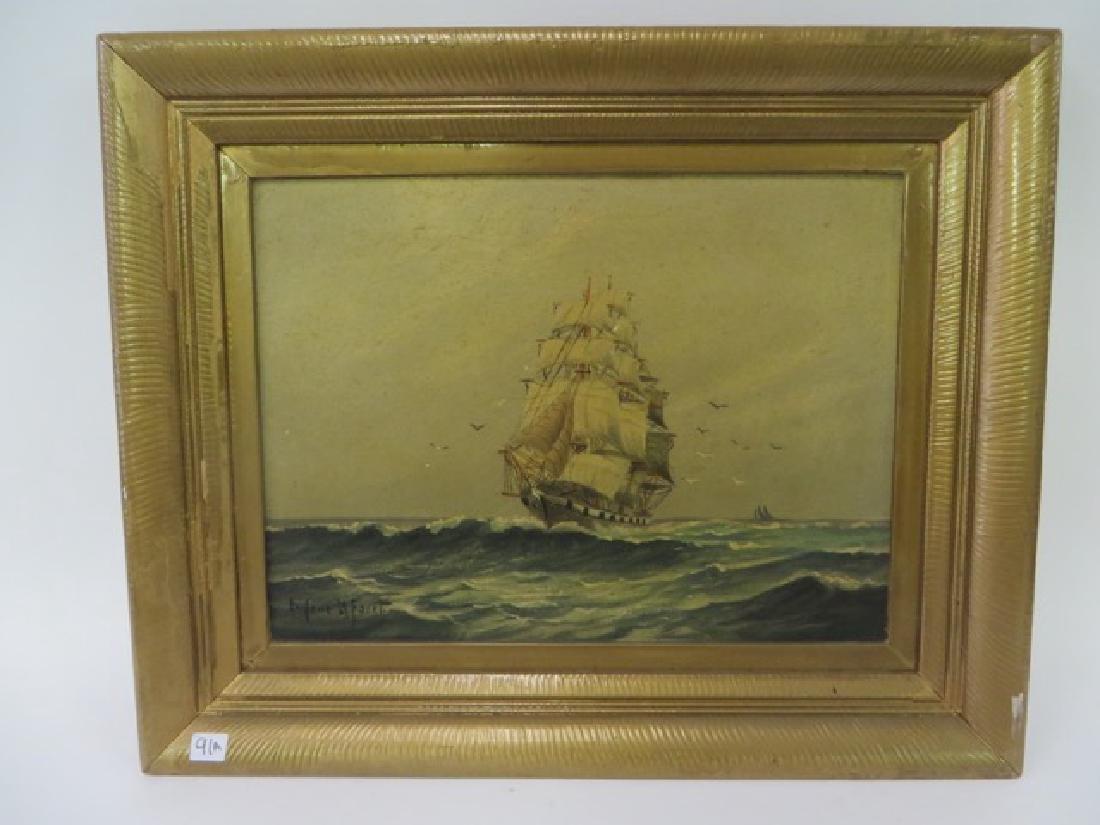 Eugene La Foret . Oil. Sailing Ships. Sgd.