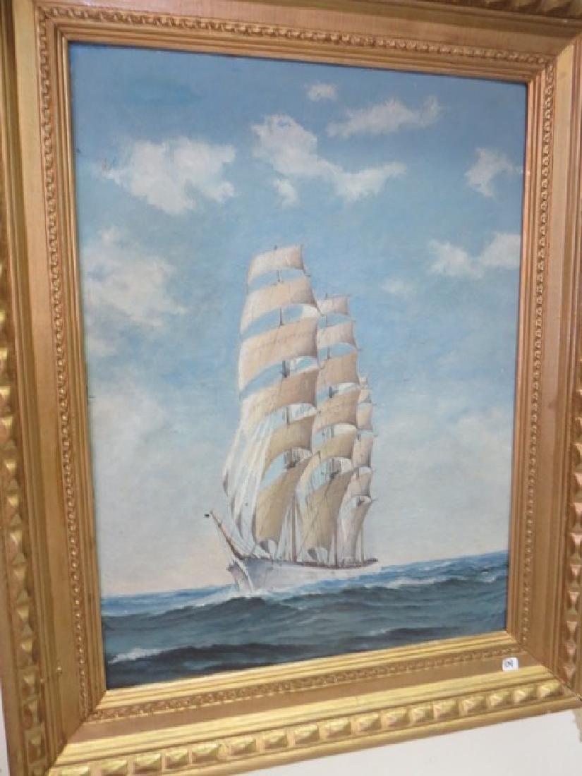 Oil on Board. Clipper Ship. Framed.