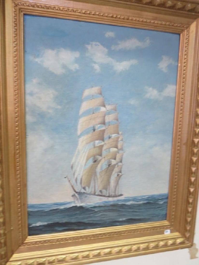 Oil on Board. Clipper Ship. Framed. - 2