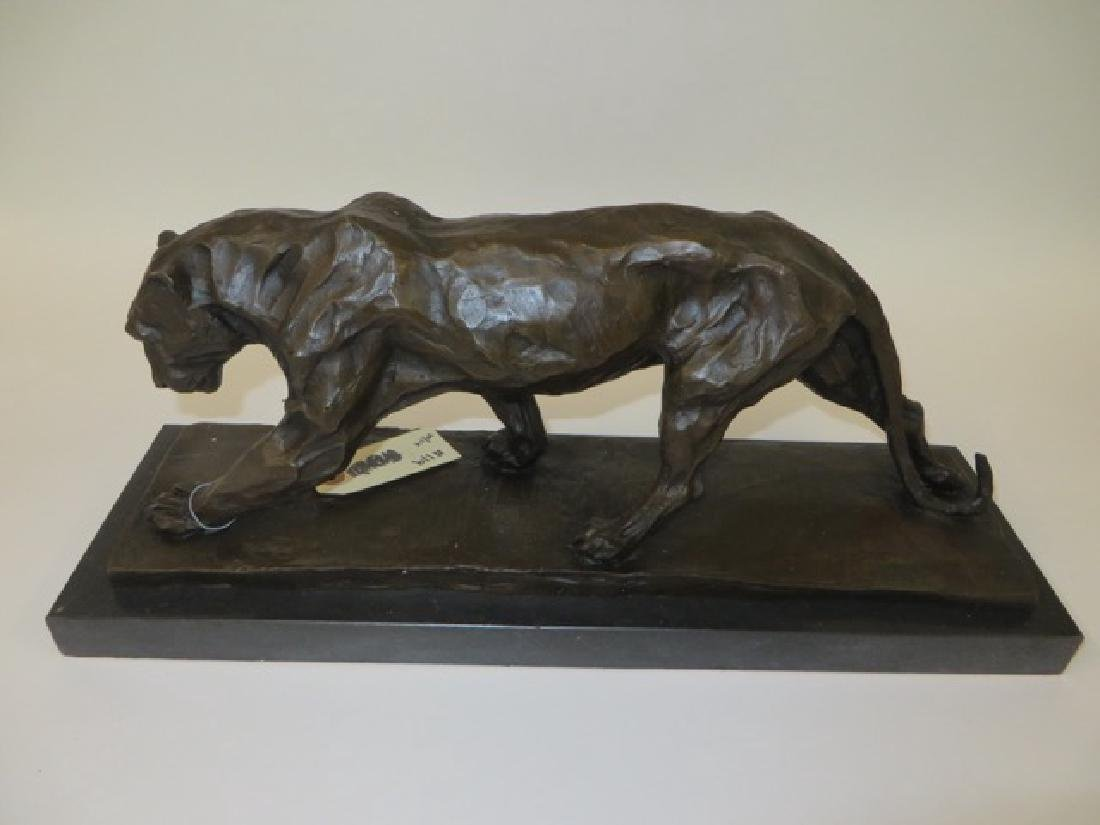 Bronze Art Deco Tiger. Marble Base