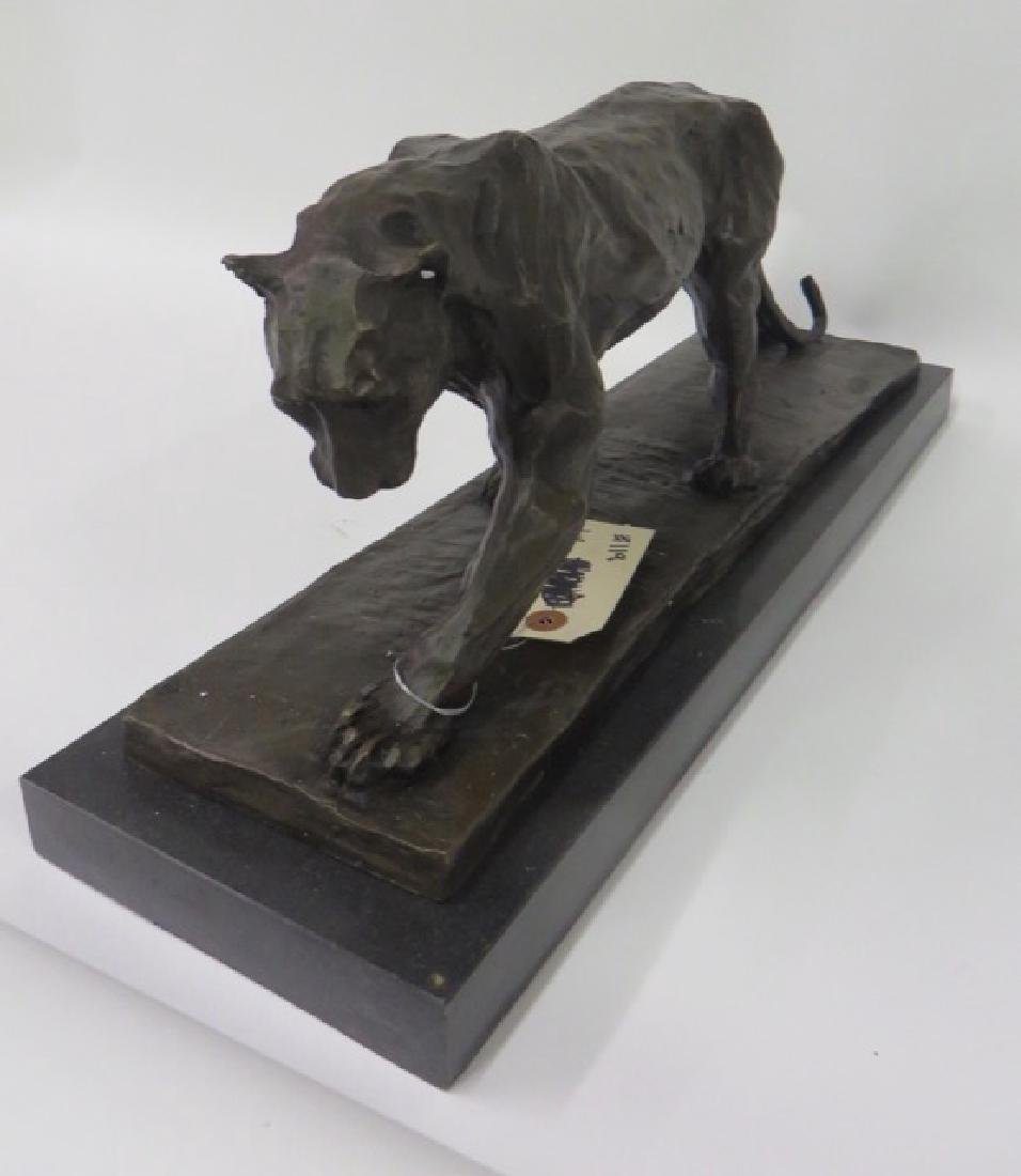Bronze Art Deco Tiger. Marble Base - 4