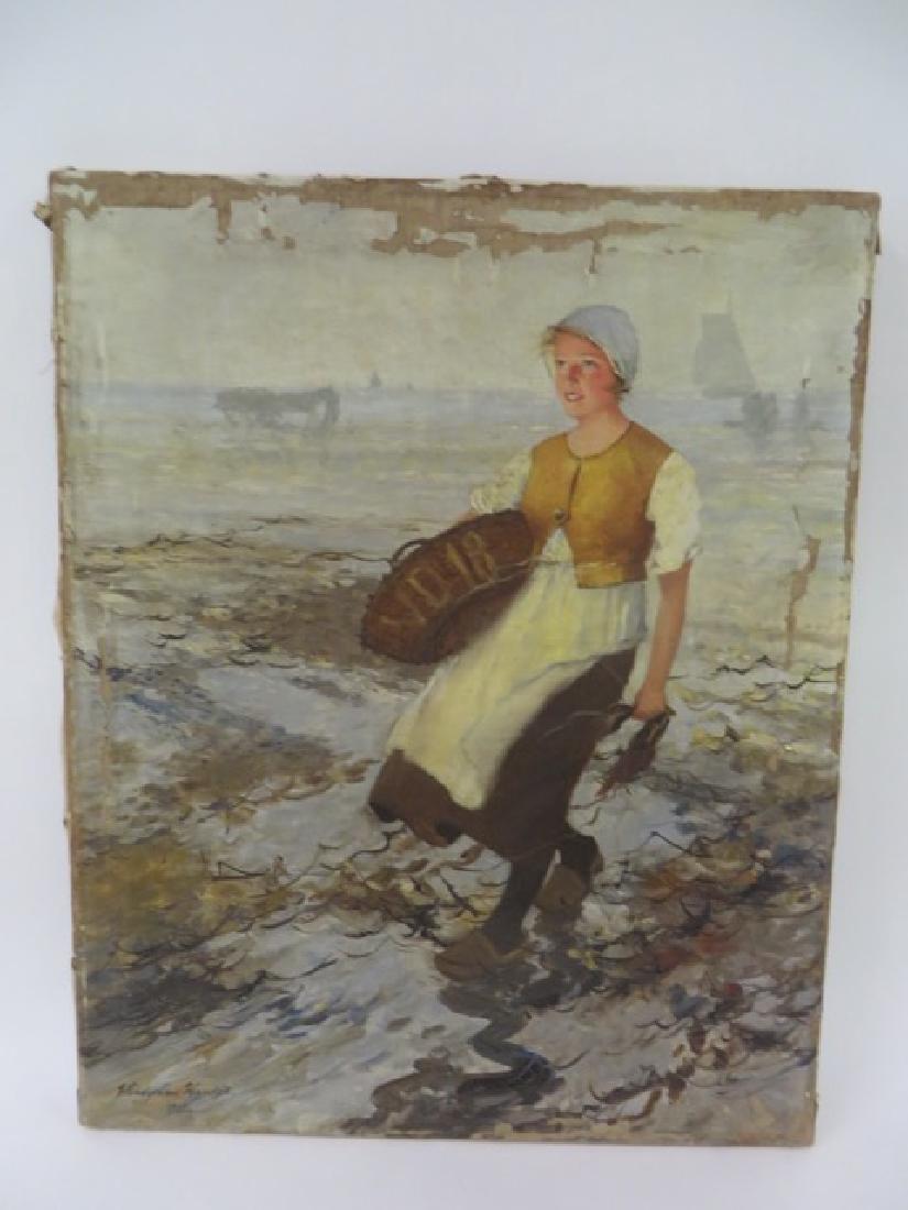 Wladyskaw Wankie. Polish  Oil. Girl at Seaside