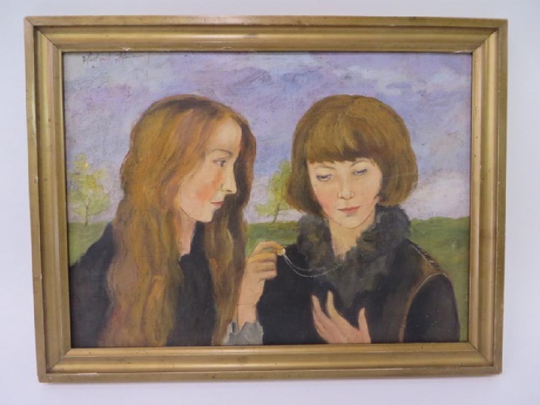 Vlastimil Hofman.Polish Oil. Two Girls. Sgd.