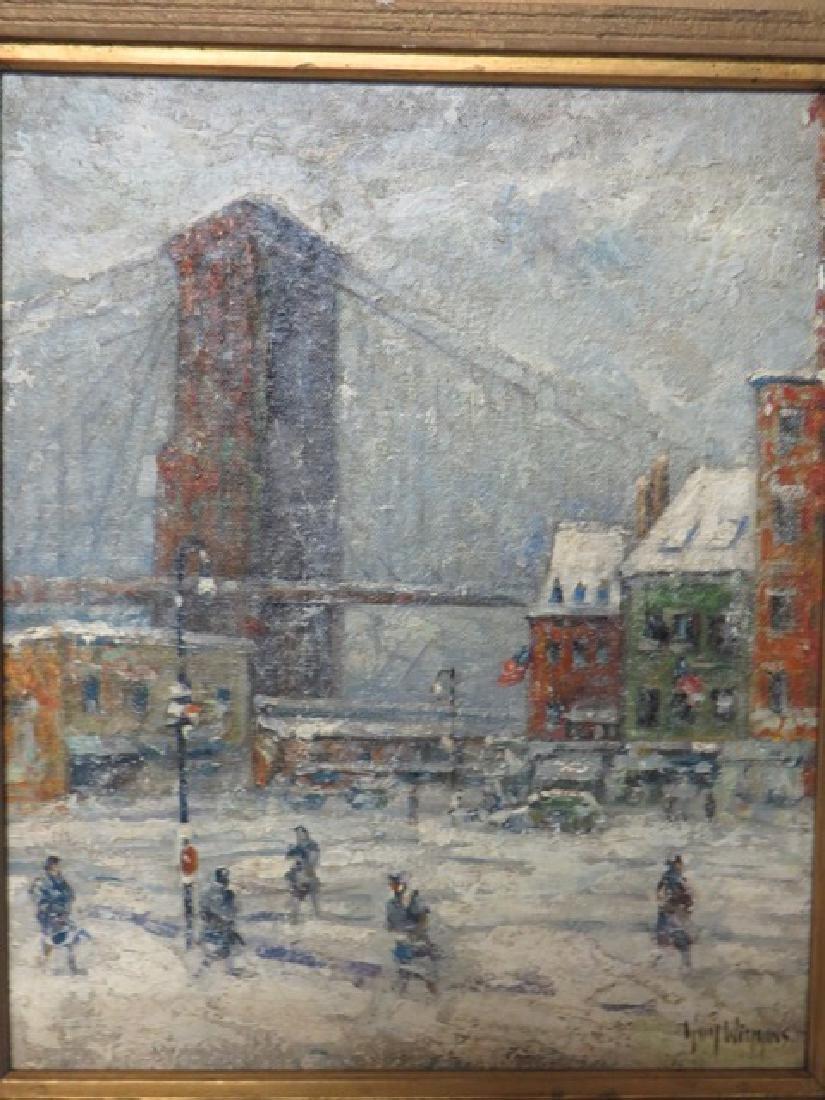 """Guy Wiggins. Oil. """"Brooklyn Bridge"""" Sgd. - 6"""