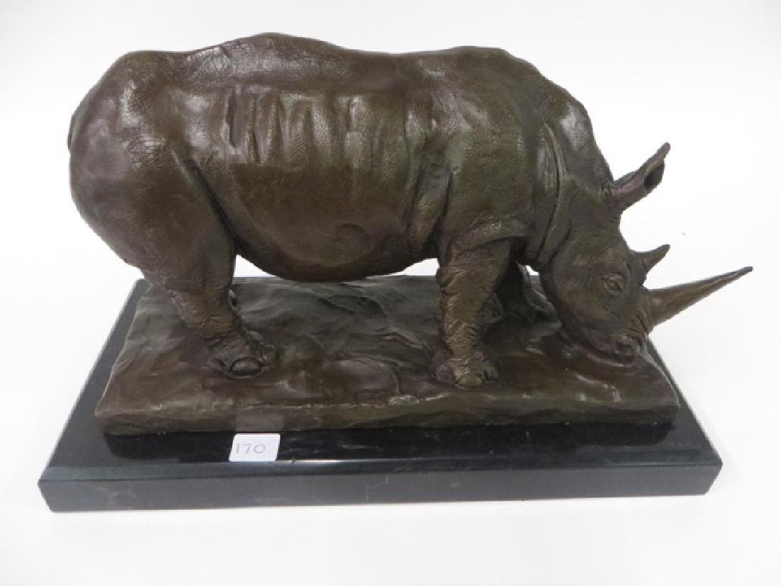 Bronze Rhinoceros Figure