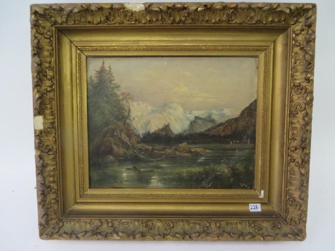 19th C. Oil on Board. Western Mountains