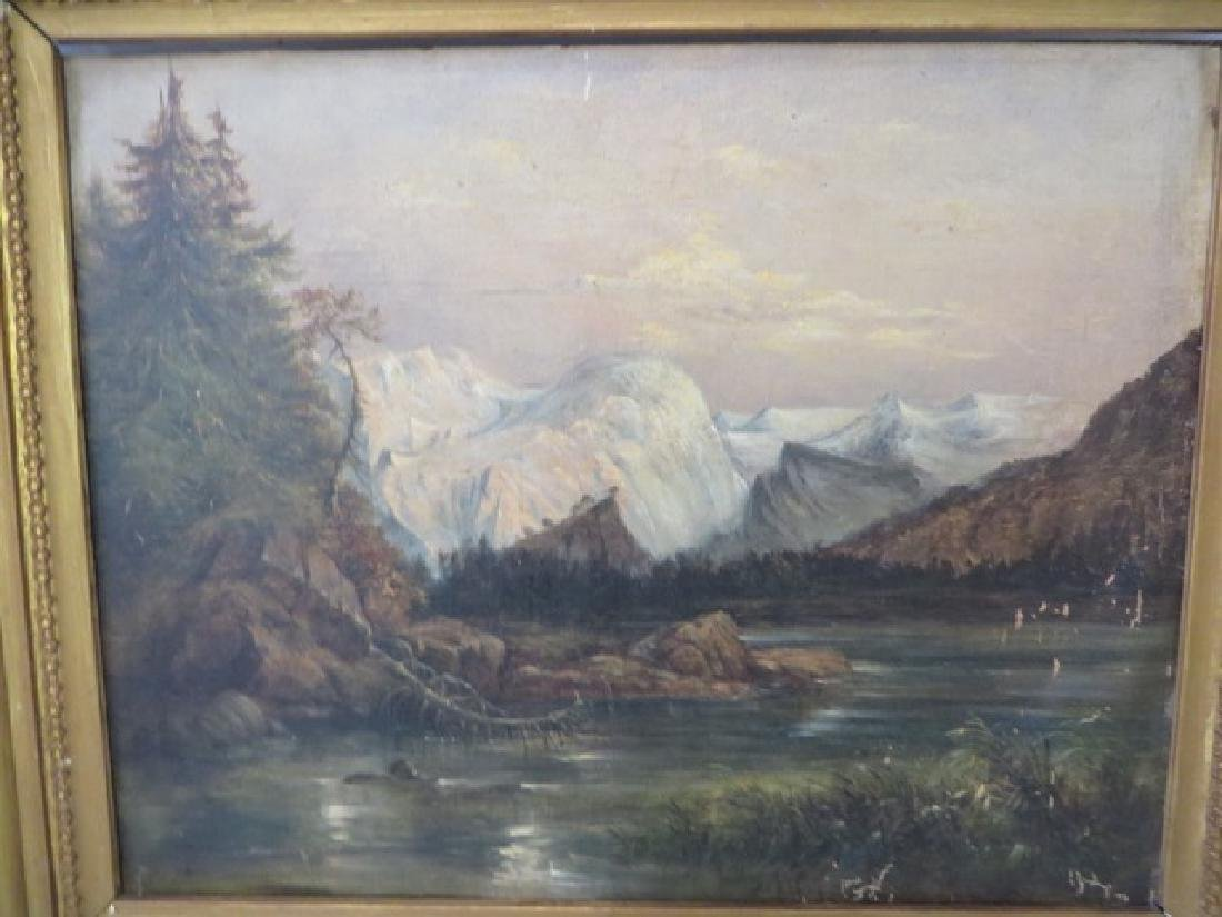 19th C. Oil on Board. Western Mountains - 2