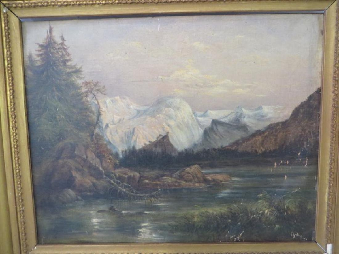 19th C. Oil on Board. Western Mountains - 3