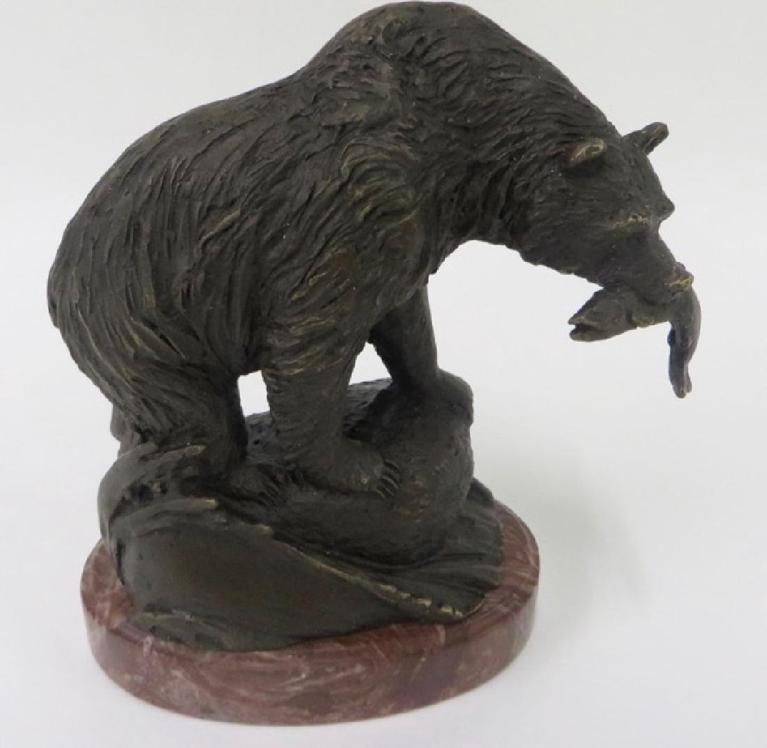 Bronze Figure.  Polar Bear with Fish
