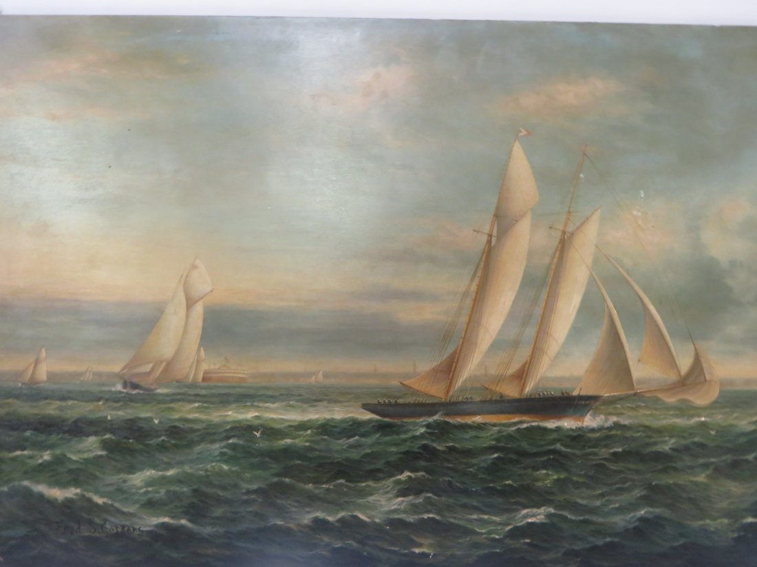 Fred S. Cozzens. Oil. Sailboats. Signed - 2