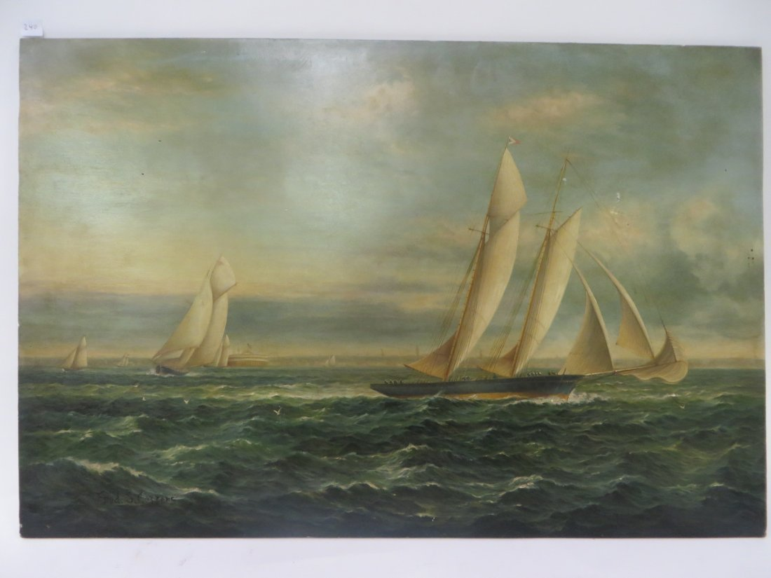 Fred S. Cozzens. Oil. Sailboats. Signed - 3