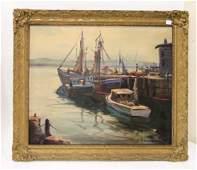 Emil Gruppe. Oil. New England Harbor Scene. Sgd.