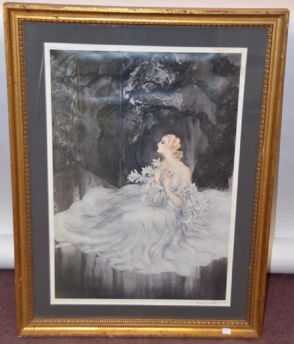 "Louis Icart Lithograph  ""Lilies"""