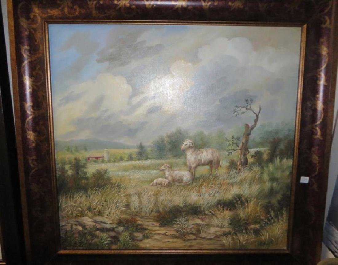 Kristina Nemethy. Oil. Sheep. Signed