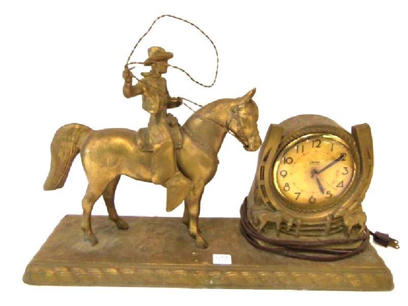 1950's Figural Clock. Cowboy on a Horse