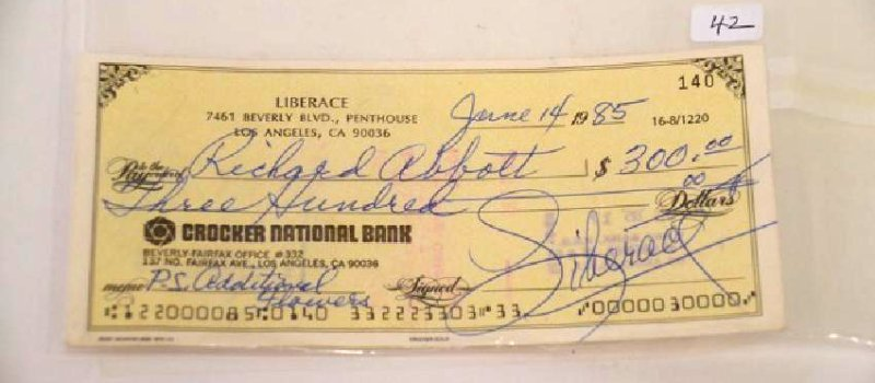 Liberace Signed Check