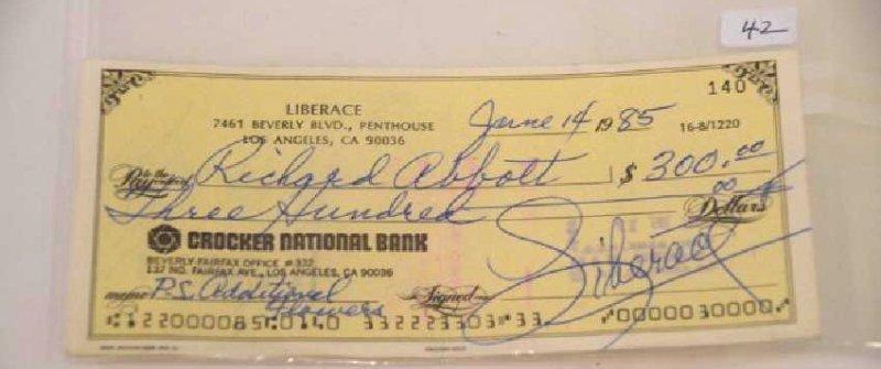 Liberace Signed Check - 2
