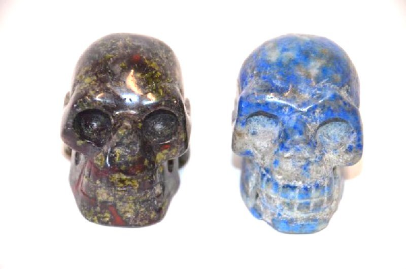 Lapis Lazulli and Carved Agate Skulls (2)