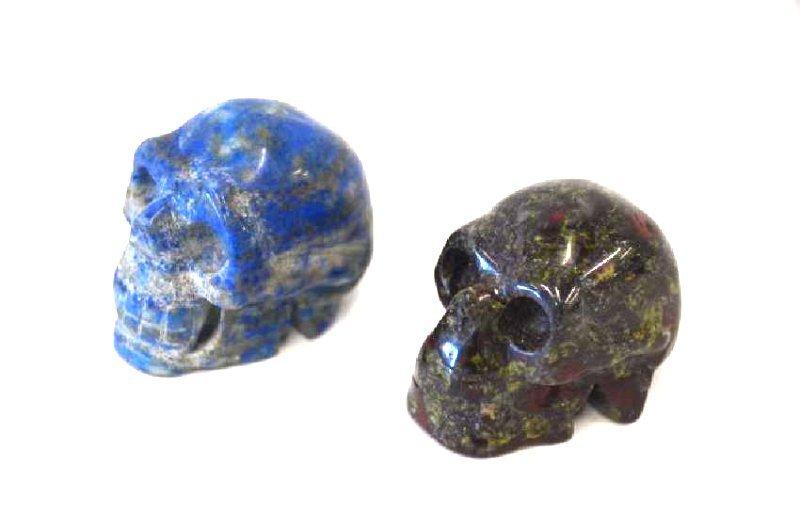 Lapis Lazulli and Carved Agate Skulls (2) - 2
