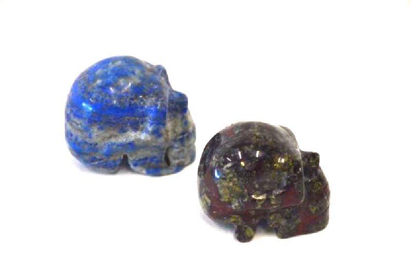 Lapis Lazulli and Carved Agate Skulls (2) - 3