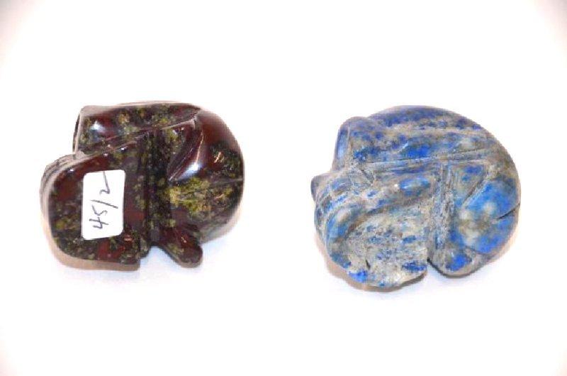 Lapis Lazulli and Carved Agate Skulls (2) - 4