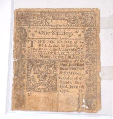 1776 Connecticut One Shilling Note